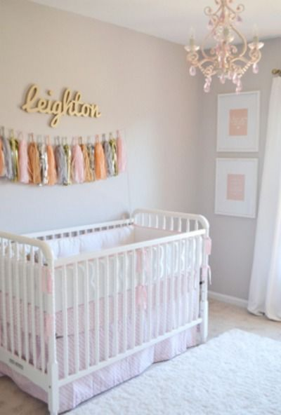 Pink and gold is a perfectly girly color palette for a nursery :)