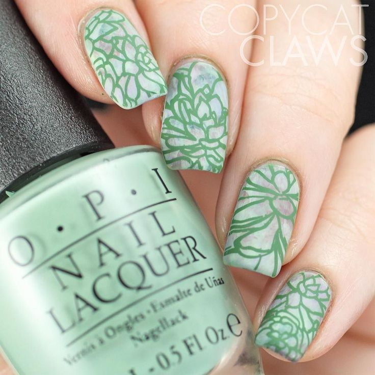I thought using the new @uberchicbeauty Succulents mini plate would be perfect for #HPBDustyApril.  I love the dusty green/purple succulent plants so I tried to put my own version of them on my nails with this stamped smoosh marble design. by copycatclaws