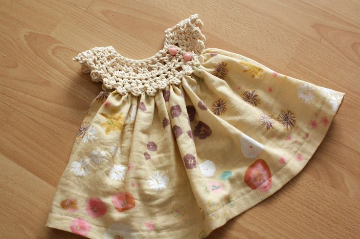 https://flic.kr/p/9n52MX | a dress for a princess | crochet yoke closes with two vintage buttons. Skirt is made of cotton gauze.