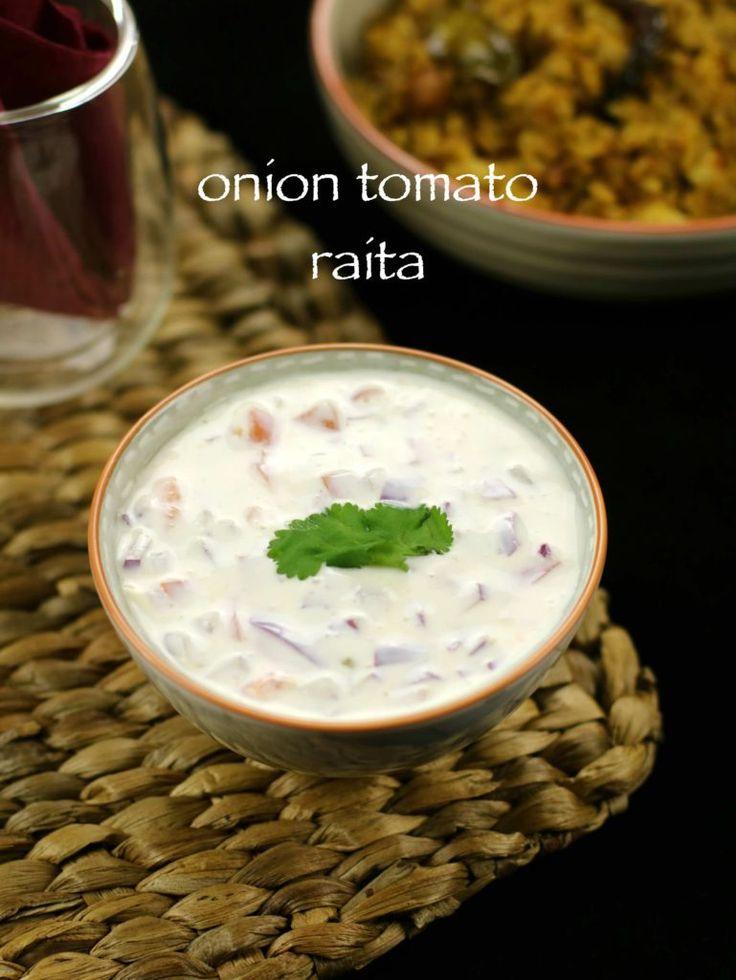 onion tomato raita recipe   tomato onion raita recipe