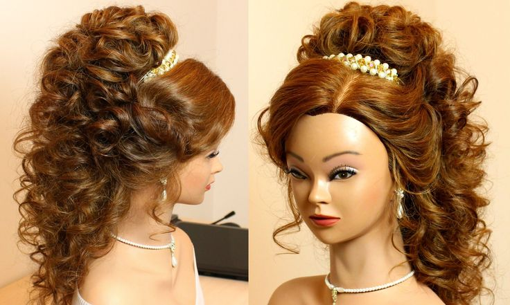 Curly romantic prom hairstyle for long hair