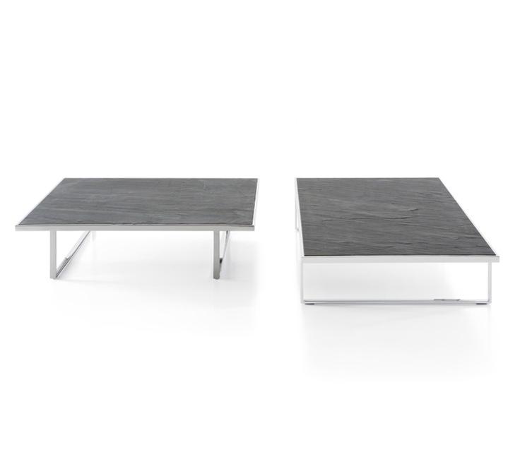 Icaro mesas de centro de Pianca, Tamaños: 89cm x 89cm x 23cmH            109cm x 109cm x 23cmH            Tope: Piedra natural y base: cromado