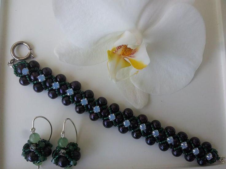 Set bratara si cercei din perle naturale si elemente swarovski