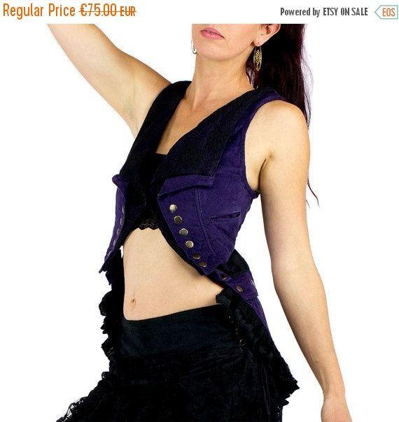 RAKTAM 3 in 1 transformable velvet jacket, short front vest, long back, corset back, lace collar, gipsy, burlesque, steampunk, handmade Materials: jacket jacket, ponytail, black lace, froufrou, short bolero, corduroy, cotton, purple and black