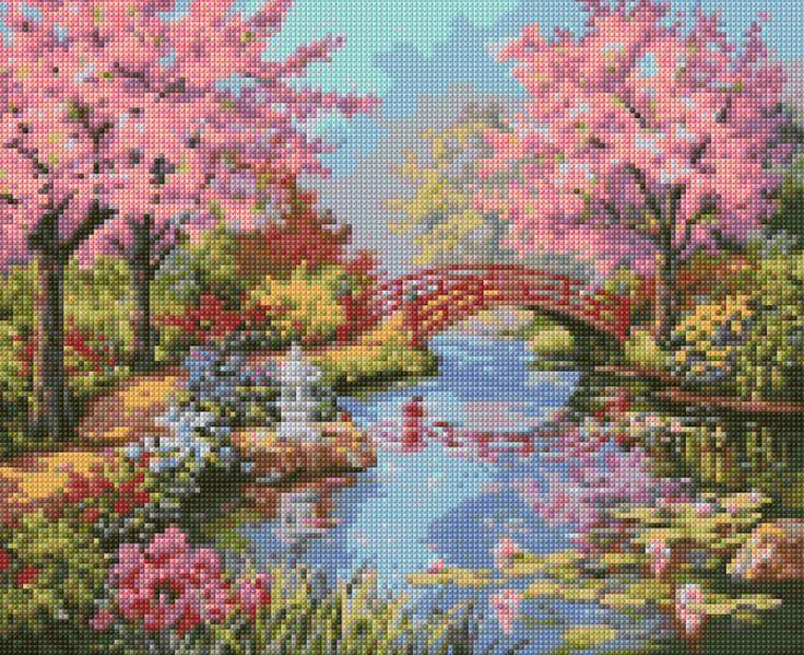 Vintage Japanese Garden Cross Stitch pattern PDF - Instant Download! by PenumbraCharts on Etsy