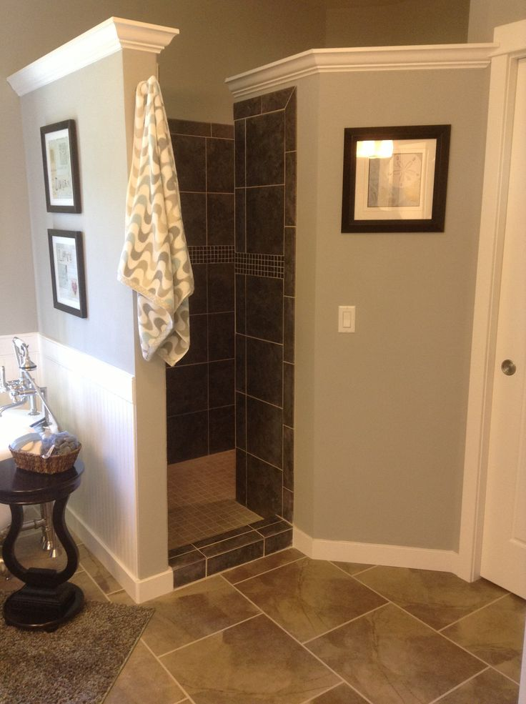 Walk in shower   no door to clean  SO PRACTICAL    210   Pinterest    Cleaning  Doors and BathWalk in shower   no door to clean  SO PRACTICAL    210   Pinterest  . Pics Of Walk In Showers. Home Design Ideas