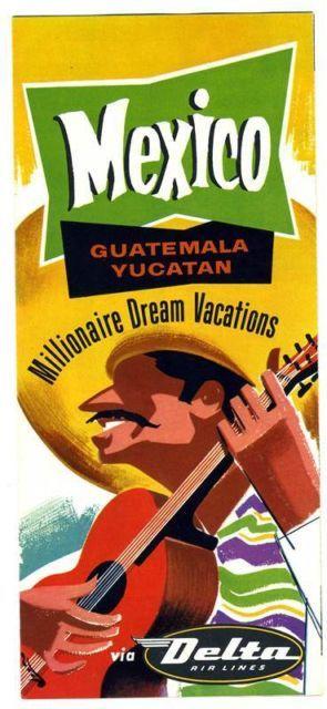Delta Air Lines 1957 Mexico Guatemala Yucatan Millionaire Vacations Brochure