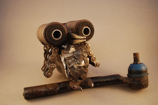 welded owl for old car parts