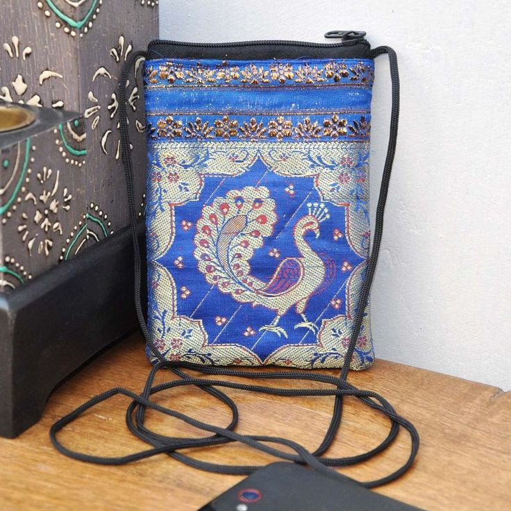 INDIAN HANDMADE WITH SILK FABRIC  SMARTPHONE/COIN/WALLET/GOLDENROD  PEACOCK  BAG #Handmade #MessengerCrossBody