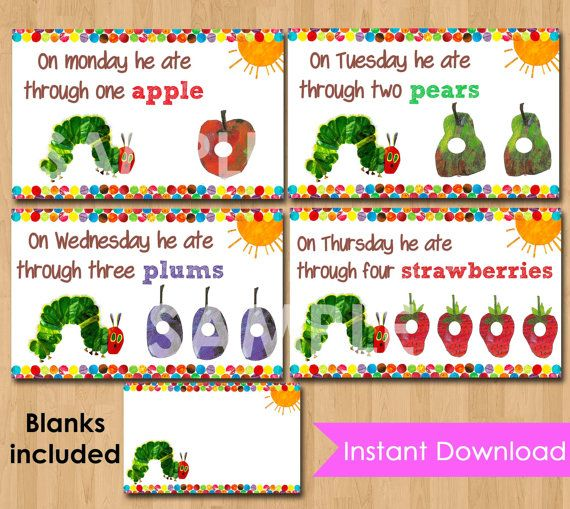 Very Hungry Caterpillar Food Tent Cards Labels