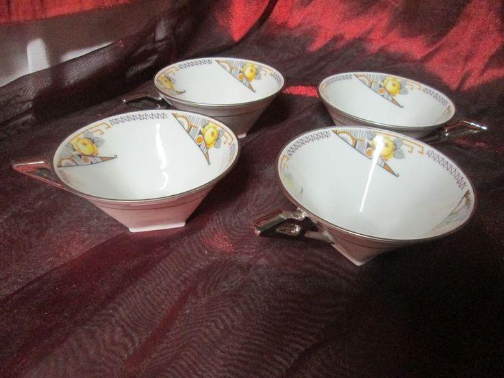Lot de 4 tasses à café Art Déco Porcelaine Limoges