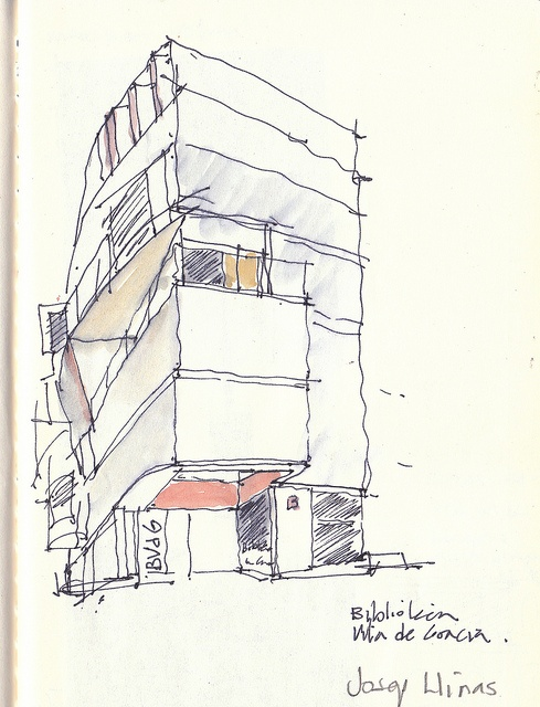 A sketch I did recently outside the Gracia Library, Barcelona. The architect is Josep Llinas who did another building I like a lot in el Raval neighborhood. Although the library was closed I had plans and sections and was able to get a pretty good understanding of it from the well-articulated facade. It makes great use of a corner site in a vibrant neigbhorhood, with a tiny but inviting public gesture (benches, bookdrop, signage) in front of the entrance. Great chocolate across the street…