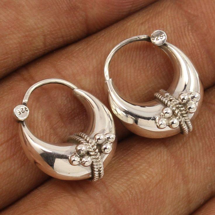 PLAIN No Stone Elegant Bali Earrings 925 Solid Sterling Silver Jewelry Wholesale #Unbranded #Hoop