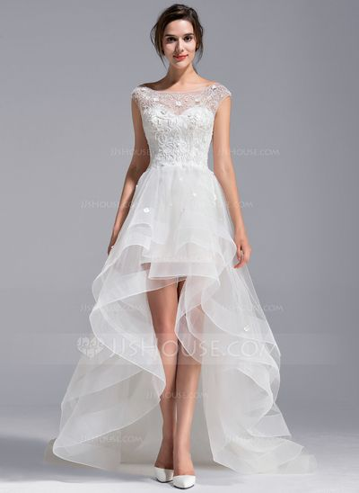 A-Line/Princess Scoop Neck Asymmetrical Tulle Lace Wedding Dress With Beading Flower(s) (002071230)