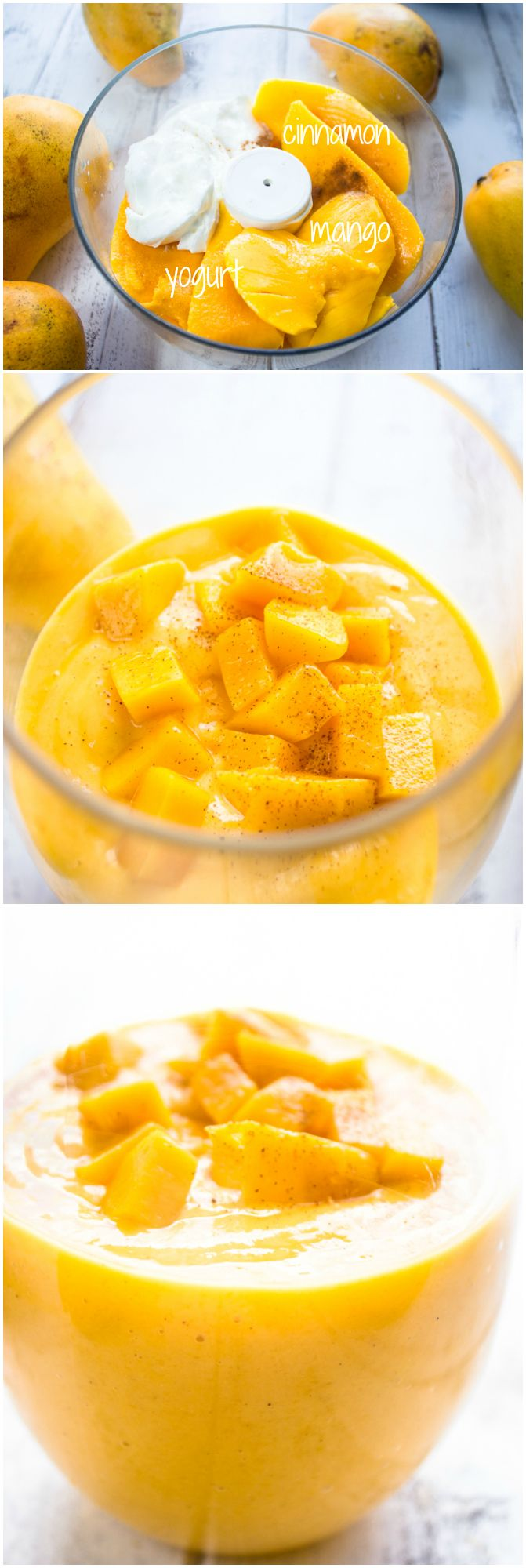 Healthy Mango and Greek Yogurt Smoothie {3 Ingredients} by brunchtimebaker #Smoothie #Mango #Yogurt #Cinnamon #Healthy #Easy