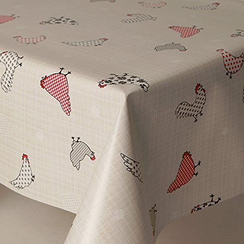 From 8.80 Pvc Tablecloth Chicken Ducks 2 Metres (200cm X 140cm) Polka Dot Spots Checks Hearts Floral French Houndstooth Red Burgundy Grey Beige Slate Wipe Clean Vinyl / Plastic Table Cloth