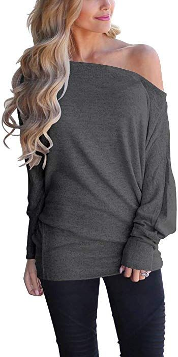 2f82892bbe1 LACOZY Women's Sexy Off Shoulder Tops Long Sleeve Loose Oversized Pullover  Sweater Knit Jumper Green Small at Amazon Women's Clothing store: