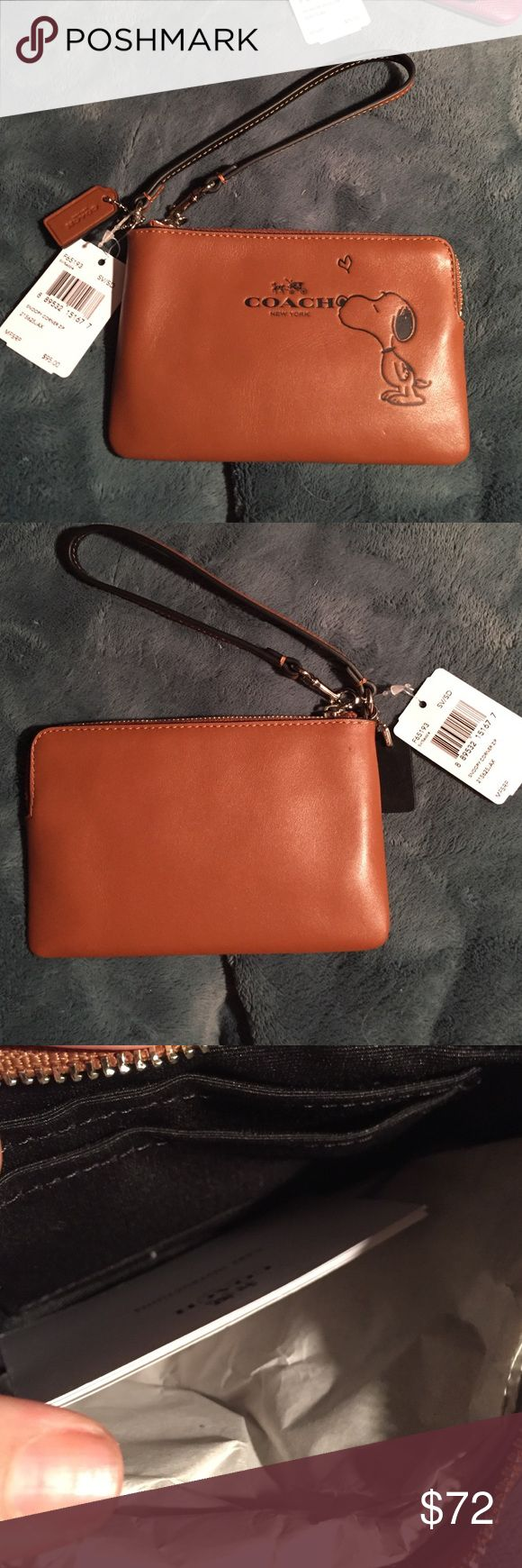 Brand new with tags Coach Snoopy Wristlet Coach Snoopy saddle Wristlet  brand new with tags and will come in a coach box. I was gonna keep it but medical stuff is piling up  my lose your win!! Coach Bags Clutches & Wristlets