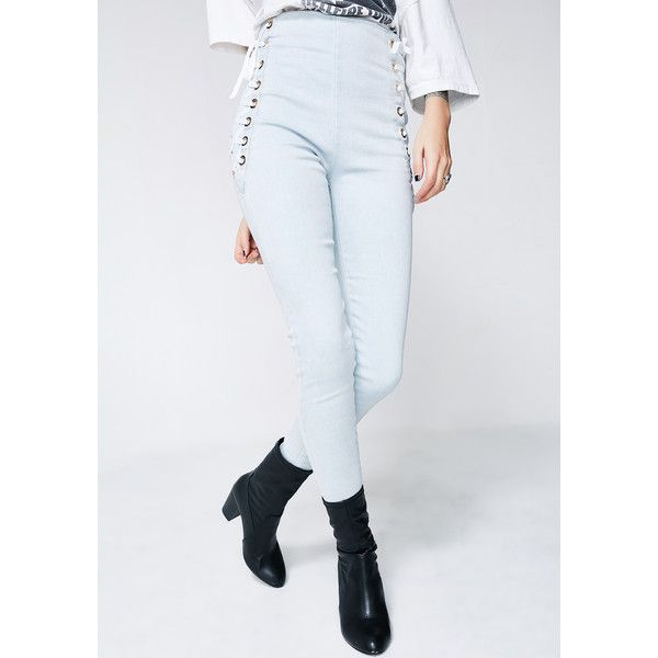 Lace Up High Waisted Jeans ($40) ❤ liked on Polyvore featuring jeans, light denim, high-waisted jeans, highwaist jeans, lace up jeans, rear zipper jeans and high rise skinny jeans