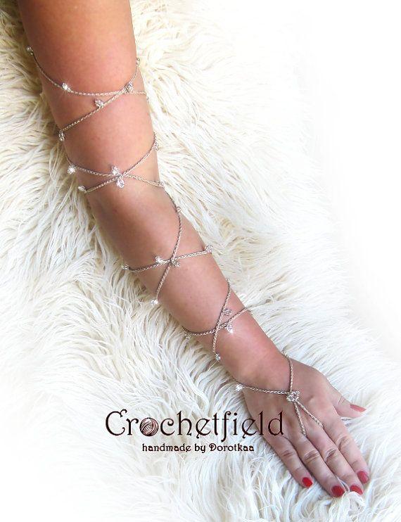 crochet SPARKLING Pair of Lace Up Bracelet Anklet by Crochetfield