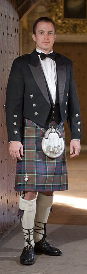 Only true Scotsmen and clan members can wear the traditional Scottish tartan kilt in their clan colors and pattern, which are all officially registered.