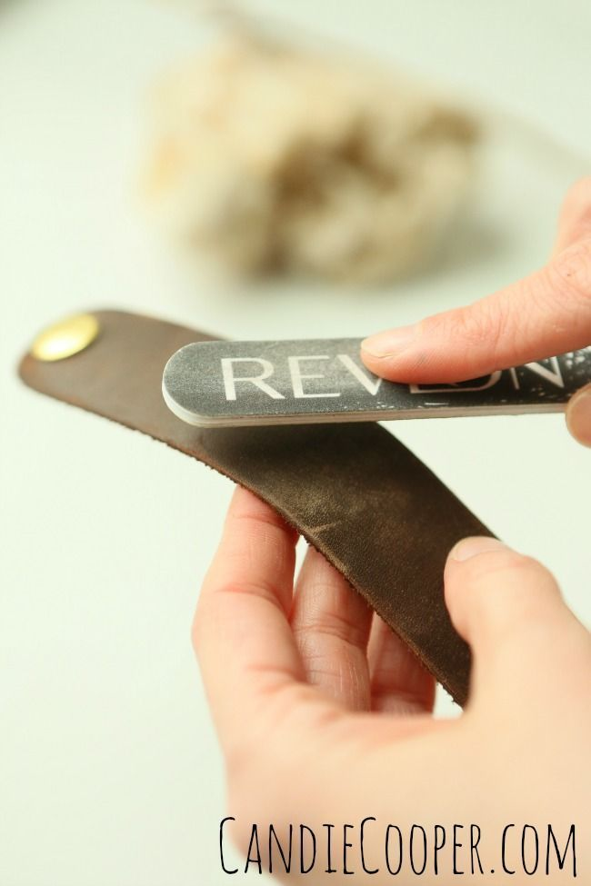 DIY JEWELRY MAKING Distressing leather cuff with a nail file