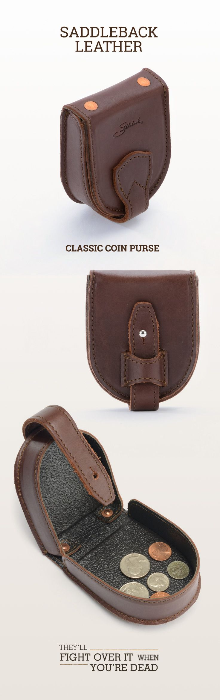 The Saddleback Leather Coin Purse in Chestnut | 100 Year Warranty | $38.00