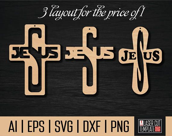 Jesus cut file,religious svg files,cnc vector,laser cut file,christian cross file,svg files cross,cross svg cut files,christian cross,religion jesus cut,jesus template,jesus vector,Cnc file. laser   You get 3 layouts at a price of 1. 3 types of cross  The following file formats are provided: . SVG . AI . DXF  . PNG  . EPS The digital product includes EPS files (version 8) and SVG and DXF and PNG.  Instant download. No physical objects will be sent!