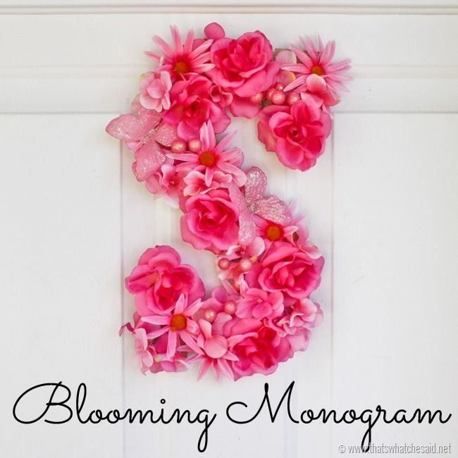 Make a personalized Blooming Monogram Door Hanging to welcome guests! Inexpensive fake flowers and a simple wooden letter make this project easy!