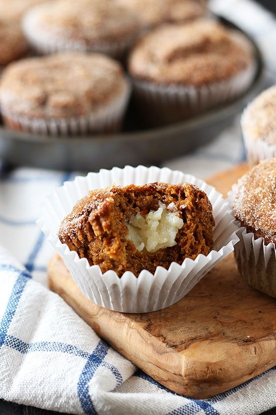 Pumpkin Cheesecake Snickerdoodle Muffins - the BEST fall muffins!! These vanished, no leftovers!