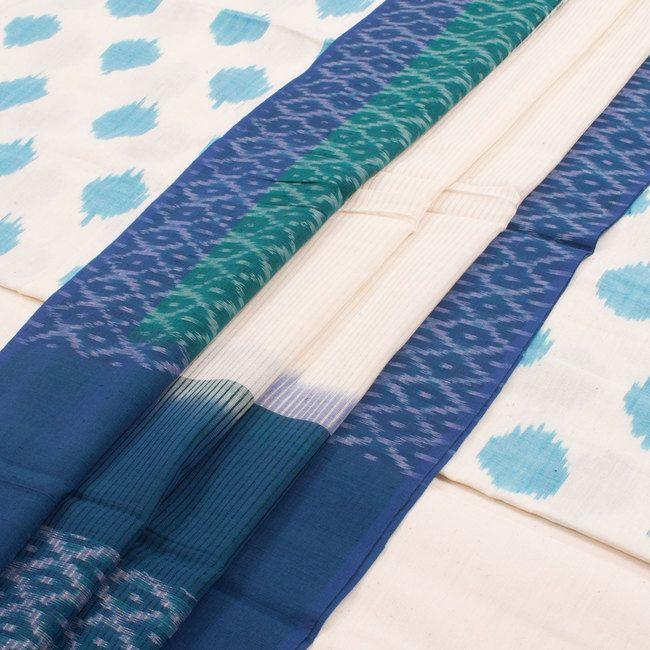 Handwoven Ikat Cotton 3 Piece Salwar Suit Material 10020509 - AVISHYA.COM