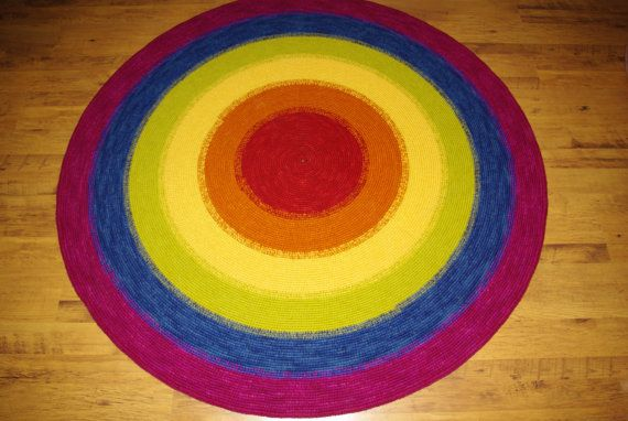 Large crochet round rug RAINBOW 807'' 205 cm by AnuszkaDesign, $220.00