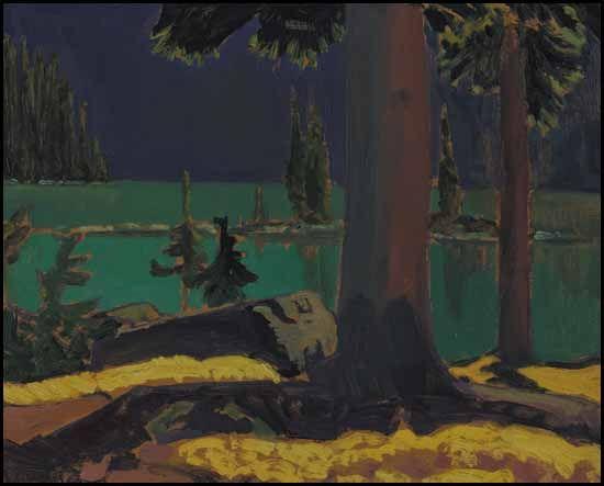 """Lake O'Hara,"" James Edward Hervey (J.E.H.) MacDonald, ca. 1924 ~ 1930, oil on board, 8 1/2 x 10 1/2"", private collection."