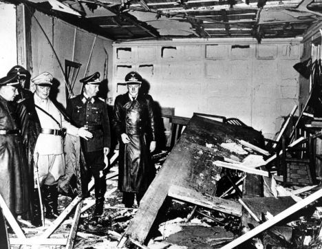 "July 20, 1944: The ""Valkyrie"" plot to kill Hitler is put into action. This photo shows the Wolf's Lair after the bomb blast, which killed 4 but only wounded Hitler. All participants in the plot were executed. July 20 has become a day to commemorate all those who took part in the resistance movement against the Nazi regime."