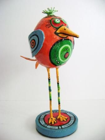 pajaro naranja cartapesta - artesania en papel papel cartapesta