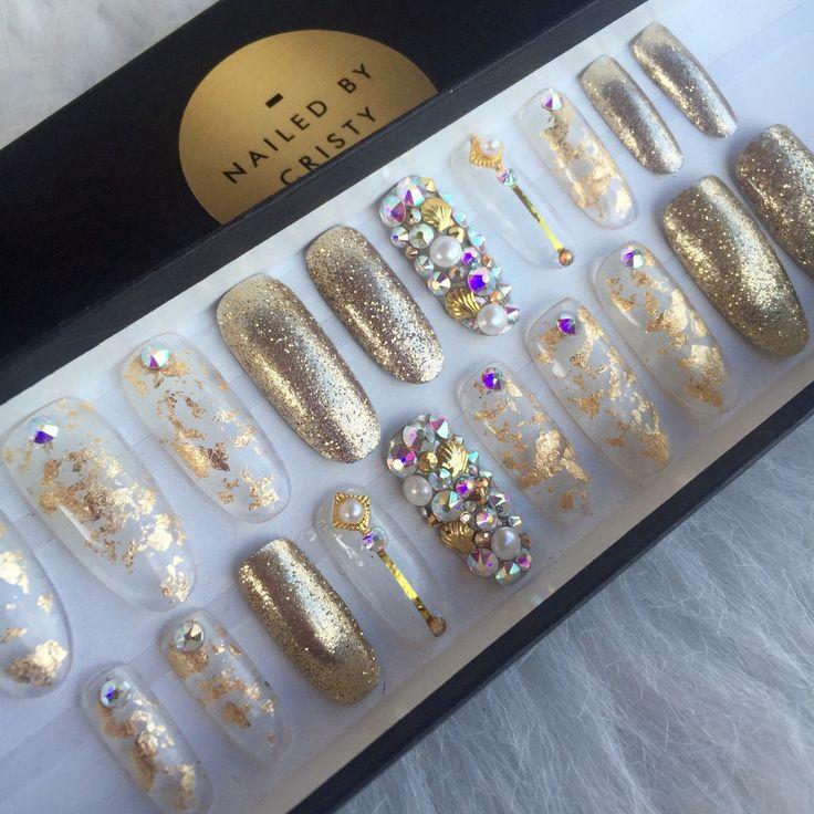 Gold Foil Glitter Swarovski Press On Nails   Mermaid Bling Nails   Fake False Glue On Nails   Any Shape by NailedByCristy on Etsy https://www.etsy.com/listing/398130823/gold-foil-glitter-swarovski-press-on