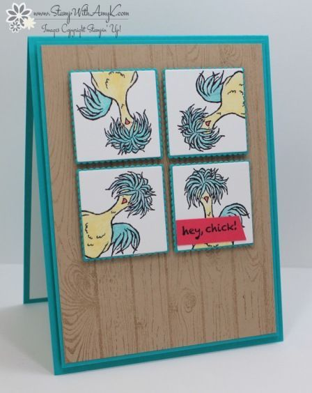 I used that crazy chicken from the Stampin' Up! Hey, Chick stamp set, a 2017 Sale-a-bration exclusive, to create my card to share today. I couldn't help myself…I had to use that stamp set again today,