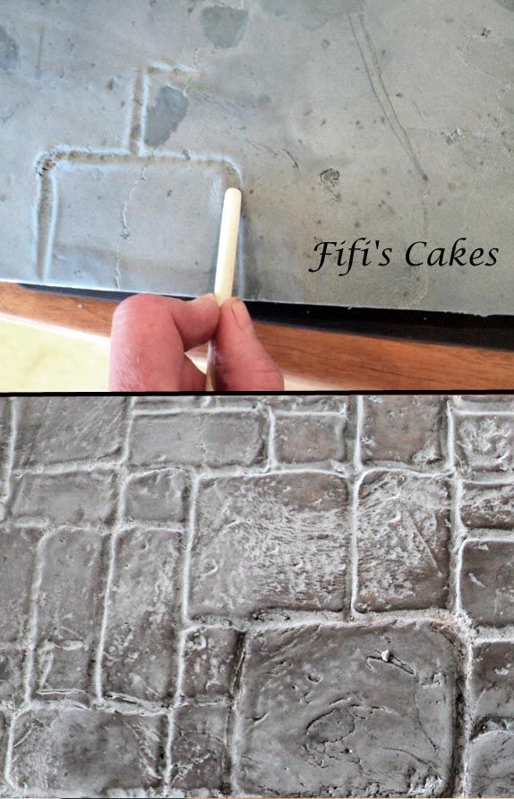 York Stone Paving on a cake board for a Boot Cake by Fifi's Cakes