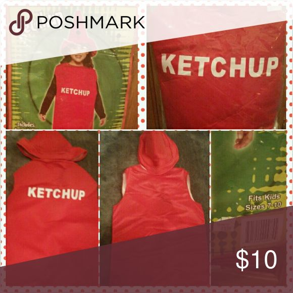 KIDS KETCHUP COSTUME Size 10/12 Adorable Ketchup Costume   - includes ketchup bottle - foam/fabric tunic and matching ketchup topper -foam/fabric hat!  Add a red or black shirt and pants  (and a burger or a hot dog!) and your costume is complete! Rasta Imposta Costumes Halloween