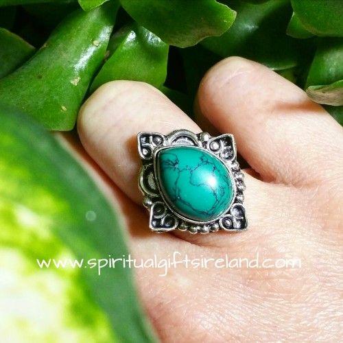 Turquoise Mandala Ring  Visit our store at www.spiritualgiftsireland.com   Follow Spiritual Gifts Ireland on www.facebook.com/spiritualgiftsireland www.instagram.com/spiritualgiftsireland www.etsy.com/shop/spiritualgiftireland We are also featured on Tumblr