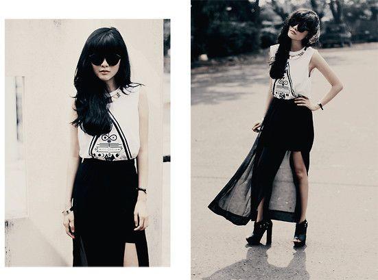 Aye Denim Triangle Tee, Sheinside High Slit Maxi Skirt, Riots Barbie Black Round Sunglasses