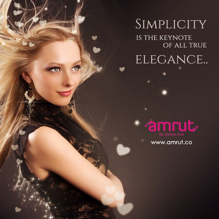 """""""Simplicity is the keynote of all true elegance.""""  -Coco Chanel  Be with Amrut - The Fashion Icon and feel the fashion!!!  www.amrut.co #FashionWorld #FashionInIndia"""