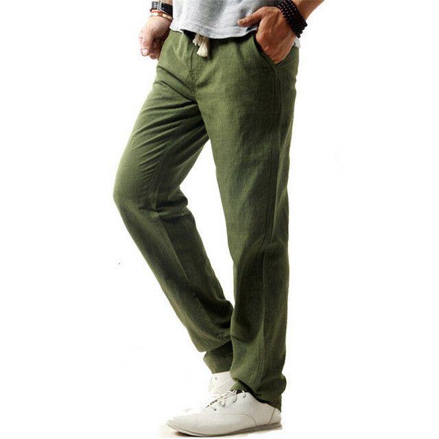 Linen Casual Pants Men Solid Thin Breathable Joggers Sweatpants Flax Cotton Big Size M-XXXXL