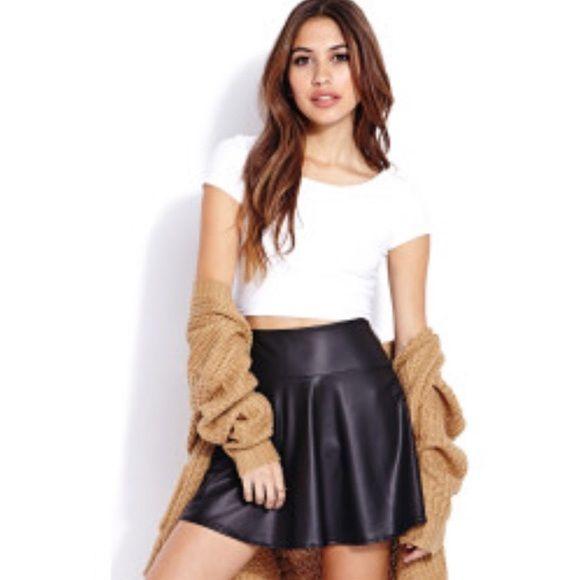 Faux Leather Skater Skirt Faux leather skater skirt. Zipper in the back. Forever 21 Skirts Circle & Skater
