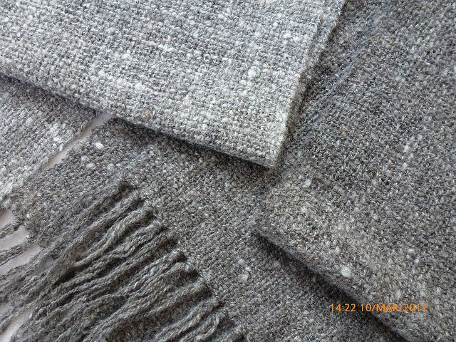 grey scarves - woven from hand-spun shetland wool - 2 sheep, 2 shades of grey