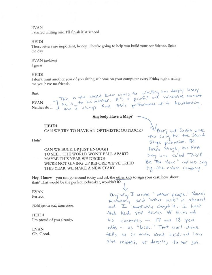 Steven Levenson annotates the first scene of Dear Evan Hansen (3/3)