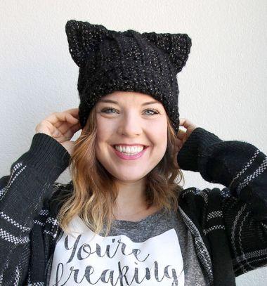 Crochet black cat slouch hat (free crochet pattern) // Horgolt cica sapka (ingyenes horgolásminta) // Mindy - craft tutorial collection // #crafts #DIY #craftTutorial #tutorial #DIYClothesForKids