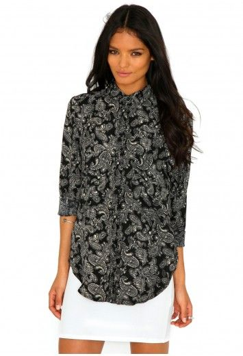 Missguided - Ethel Oversized Paisley Blouse In Black