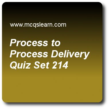 Process to Process Delivery Quizzes:  computer networks Quiz 214 Questions and Answers - Practice networking quizzes based questions and answers to study process to process delivery quiz with answers. Practice MCQs to test learning on process to process delivery, frame relay in vcn, digital to digital conversion, ipv6 test, ipv4 addresses quizzes. Online process to process delivery worksheets has study guide as in process to process delivery, server process must also define itself with..
