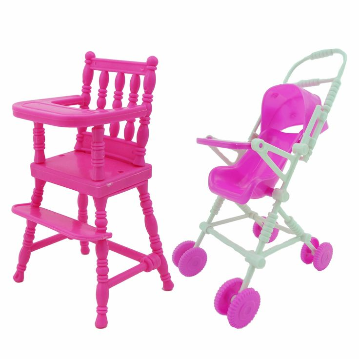 2 Items/Lot = 1x Mini Furniture High Chair   1x Pink Assembly Baby Stroller Accessories For Barbie Kelly Size Doll 1 : 12 Puppet
